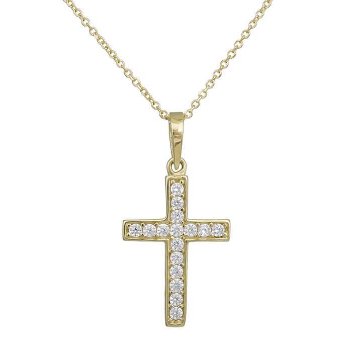 Χρυσο σταυρουδάκι Κ14 με ζιργκόν λευκές πέτρες 028978 028978 Χρυσός 14 Καράτια