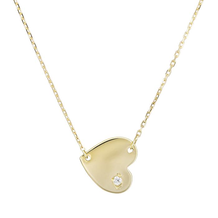 Χρυσό κολιέ Κ14 καρδιά με ζιργκόν 028989 028989 Χρυσός 14 Καράτια