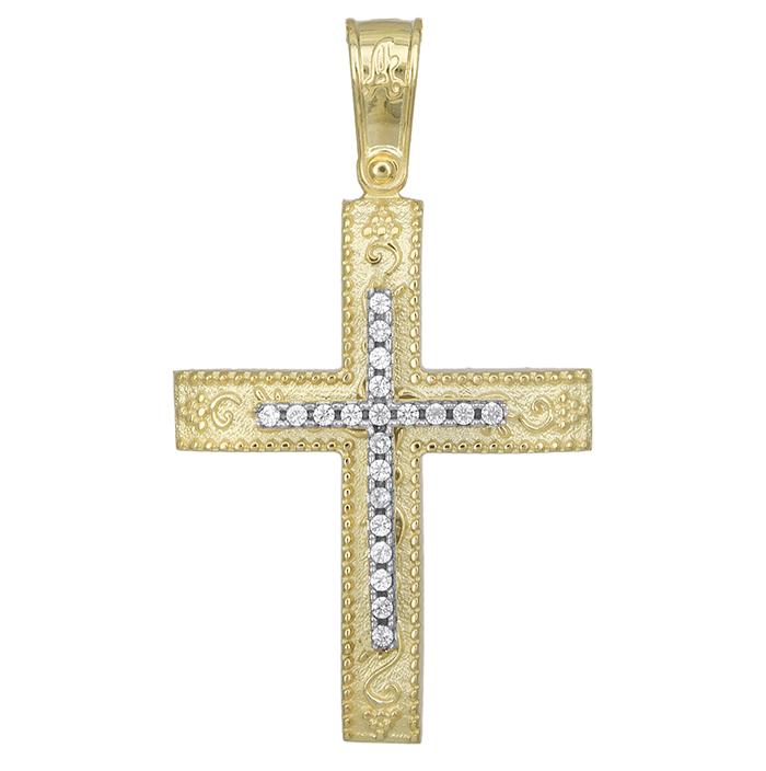 Σταυροί Βάπτισης - Αρραβώνα Δίχρωμος σταυρός Κ14 ανάγλυφος με ζιργκόν 029000 029000 Γυναικείο Χρυσός 14 Καράτια