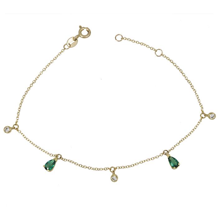 Γυναικείο βραχιόλι Κ14 δάκρυ με πράσινη ζιργκόν 029005 029005 Χρυσός 14 Καράτια