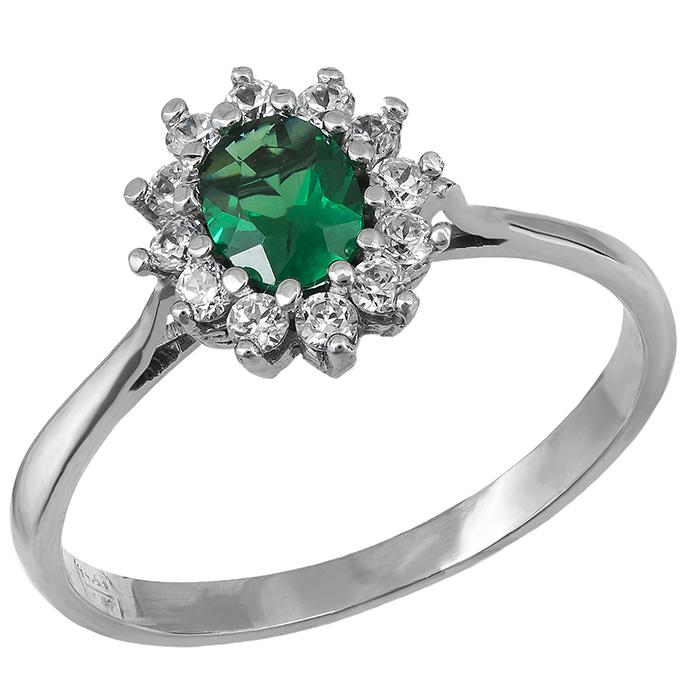 Λευκόχρυσο δαχτυλίδι Κ14 ροζέτα με πράσινη πέτρα 029018 029018 Χρυσός 14 Καράτια
