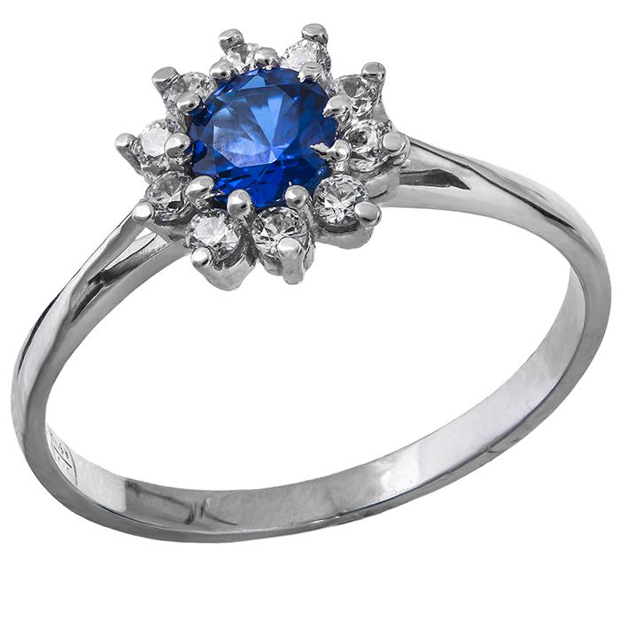Λευκόχρυσο δαχτυλίδι Κ14 ροζέτα με μπλε πέτρα 029019 029019 Χρυσός 14 Καράτια