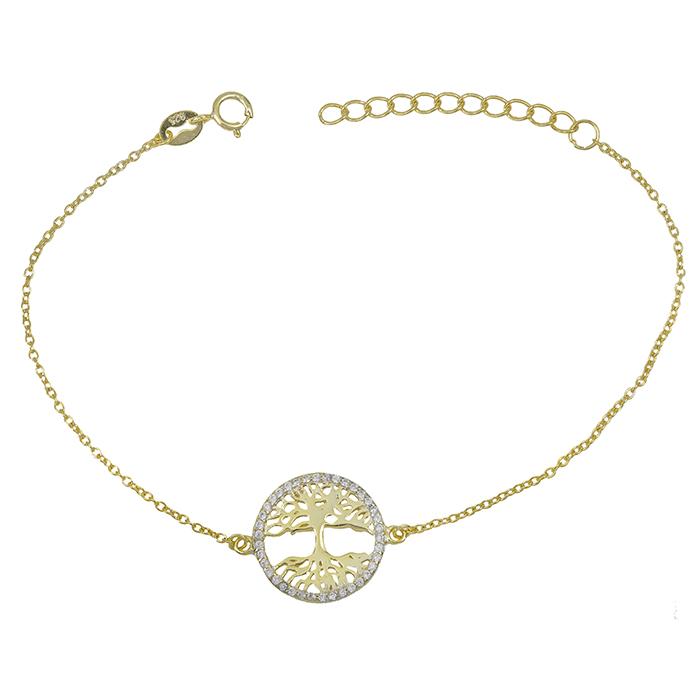 Επίχρυσο βραχιόλι 925 με το δέντρο της ζωής 029045 029045 Ασήμι ασημένια κοσμήματα βραχιόλια