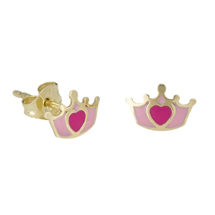 Χρυσά σκουλαρίκια Κ9 κορώνες ροζ 029088 029088 Χρυσός 9 Καράτια