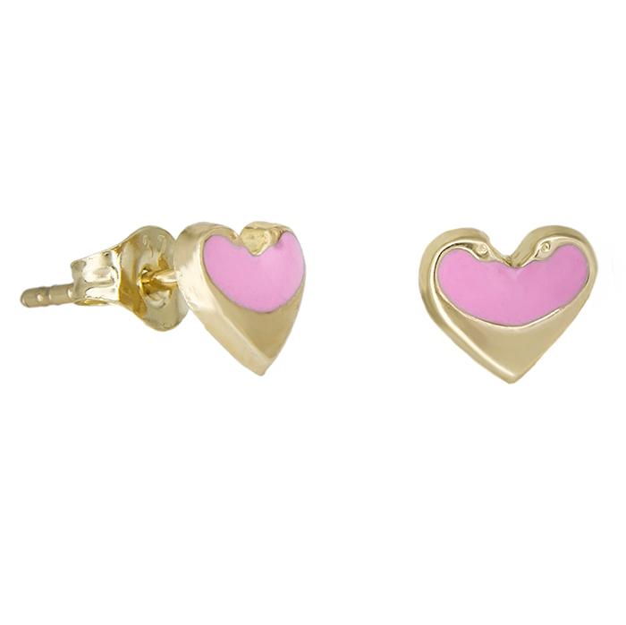 Χρυσά σκουλαρίκια Κ9 καρδούλες με ροζ σμάλτο 029097 029097 Χρυσός 9 Καράτια