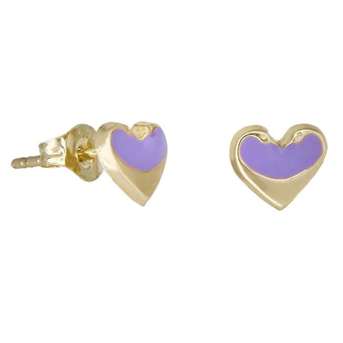 Παιδικά σκουλαρίκια Κ9 καρδούλες μωβ 029098 029098 Χρυσός 9 Καράτια