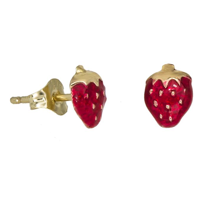 Χρυσά σκουλαρίκια Κ9 φραουλίτσες 029099 029099 Χρυσός 9 Καράτια
