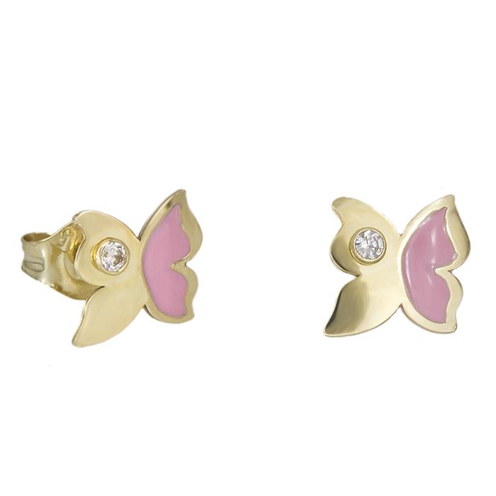 Χρυσά σκουλαρίκια Κ9 πεταλούδες με ζιργκόν πέτρα 029116 029116 Χρυσός 9 Καράτια