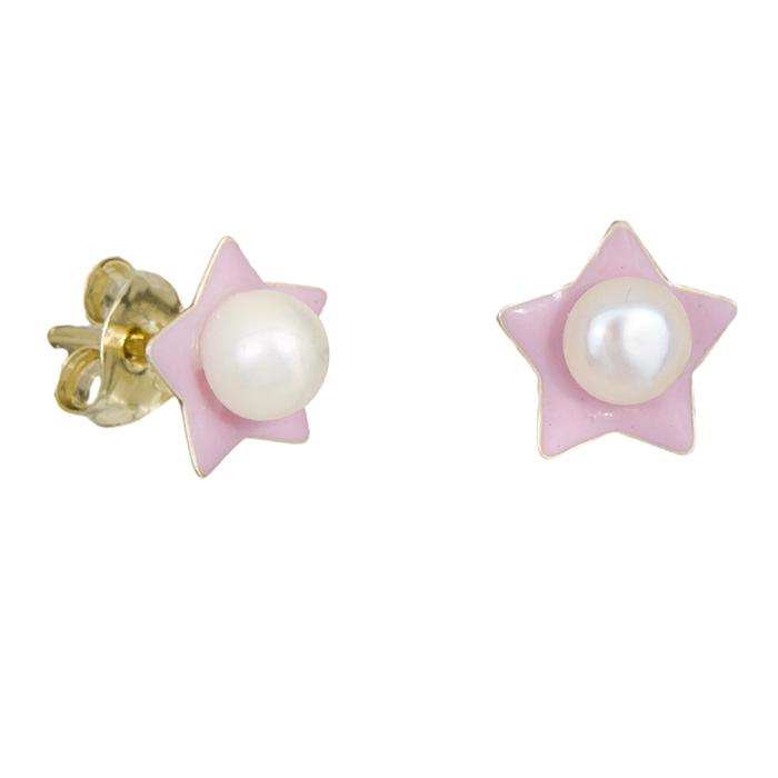 Χρυσά σκουλαρίκια Κ9 ροζ αστεράκια με μαργαριτάρι 029118 029118 Χρυσός 9 Καράτια