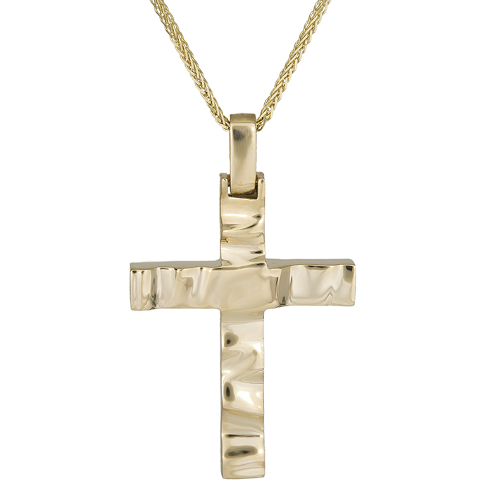 Βαπτιστικοί Σταυροί με Αλυσίδα Βαπτιστικός σταυρός Κ18 με αλυσίδα κυματιστός 029127C 029127C Ανδρικό Χρυσός 18 Καράτια
