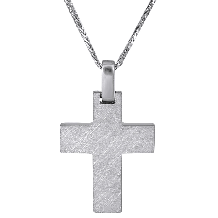 Βαπτιστικοί Σταυροί με Αλυσίδα Βαπτιστικός σταυρός Κ18 με αλυσίδα λευκόχρυσος 029128C 029128C Ανδρικό Χρυσός 18 Καράτια