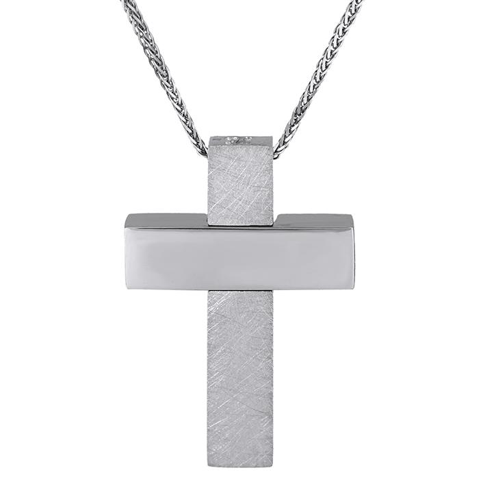 Βαπτιστικοί Σταυροί με Αλυσίδα Λευκόχρυσος σταυρός Κ18 με αλυσίδα λουστρέ-ματ 029129C 029129C Ανδρικό Χρυσός 18 Καράτια