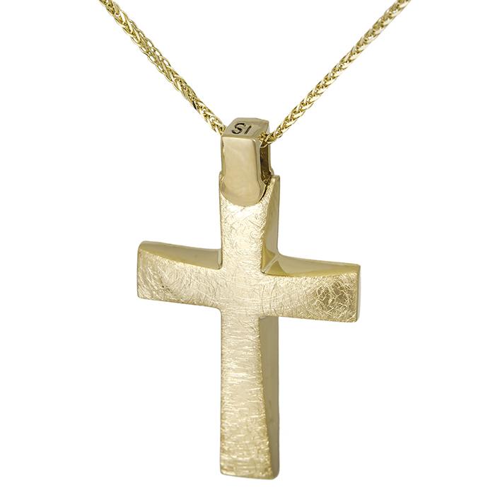Βαπτιστικοί Σταυροί με Αλυσίδα βαπτιστικός σταυρός Κ18 με αλυσίδα ματ χρυσός 029130C 029130C Ανδρικό Χρυσός 18 Καράτια