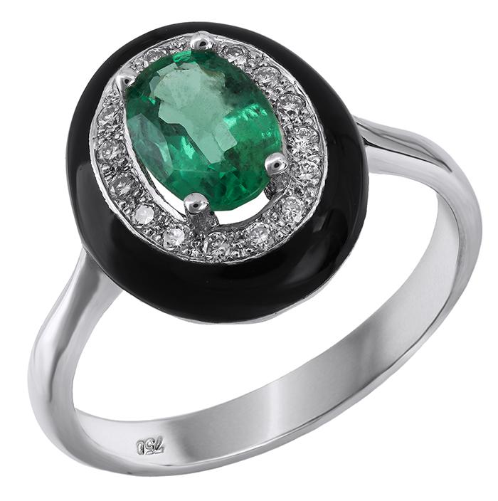 Δαχτυλίδι ροζέτα με σμαράγδι Κ18 029142 029142 Χρυσός 18 Καράτια