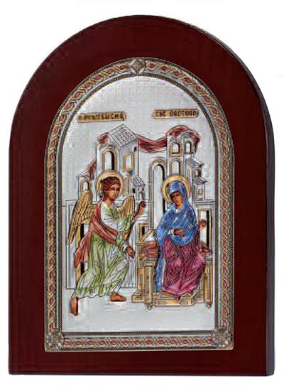 Έγχρωμη εικόνα με τον Ευαγγελισμό ασημένια 925 029154 029154 Ασήμι