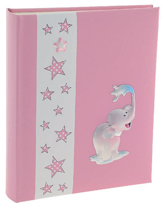 Ροζ άλμπουμ φωτογραφιών με ελέφαντα και αστεράκια 029162 029162