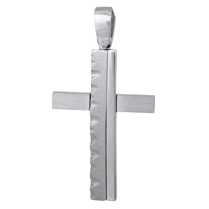 Σταυροί Βάπτισης - Αρραβώνα Λευκόχρυσος σταυρός Κ14 με σκαλιστό σχέδιο 029209 029209 Ανδρικό Χρυσός 14 Καράτια