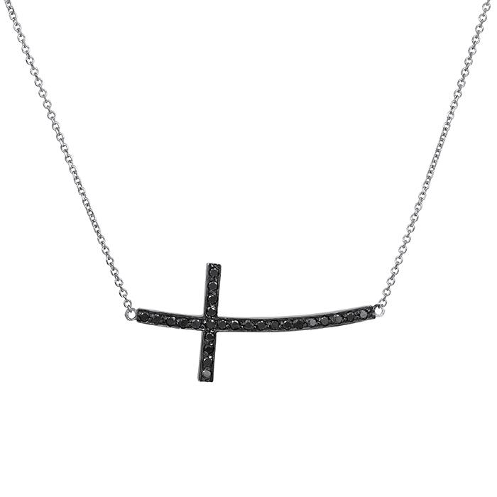 Λευκόχρυσο κολιέ Κ18 σταυρός με μαύρα διαμάντια 029241 029241 Χρυσός 18 Καράτια