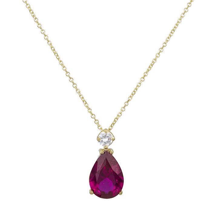 Χρυσό κολιέ Κ14 δάκρυ με ροζ πέτρα 029254 029254 Χρυσός 14 Καράτια