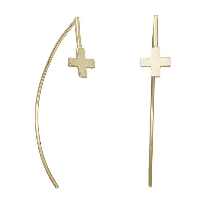 Γυναικεία σκουλαρίκια Κ14 κρεμαστά με σταυρουδάκι 029259 029259 Χρυσός 14 Καράτια