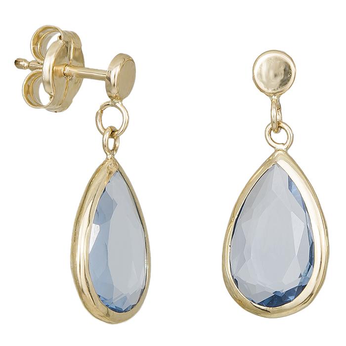 Χρυσά σκουλαρίκια Κ14 με μπλε πέτρα 029266 029266 Χρυσός 14 Καράτια