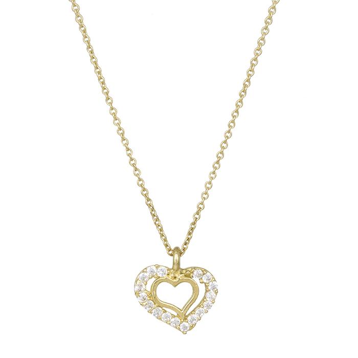Χρυσό κολιέ Κ14 καρδιές με ζιργκόν 029296 029296 Χρυσός 14 Καράτια