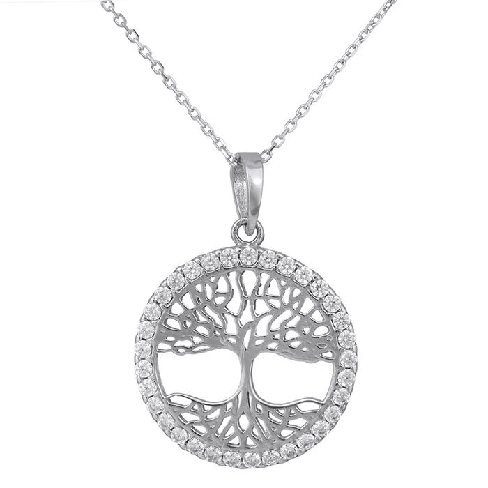 Λευκόχρυσο κολιέ Κ14 δέντρο της ζωής με ζιργκόν 029320C 029320C Χρυσός 14 Καράτια