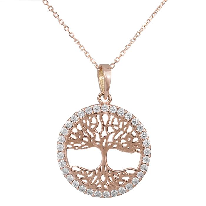 Ροζ gold κολιέ Κ14 δέντρο της ζωής με ζιργκόν 029321C 029321C Χρυσός 14 Καράτια