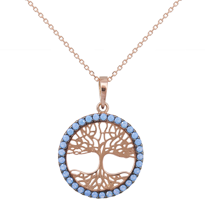 Koλιέ Κ14 ροζ gold με το δέντρο της ζωής με μπλε πέτρες 029323C 029323C Χρυσός 14 Καράτια