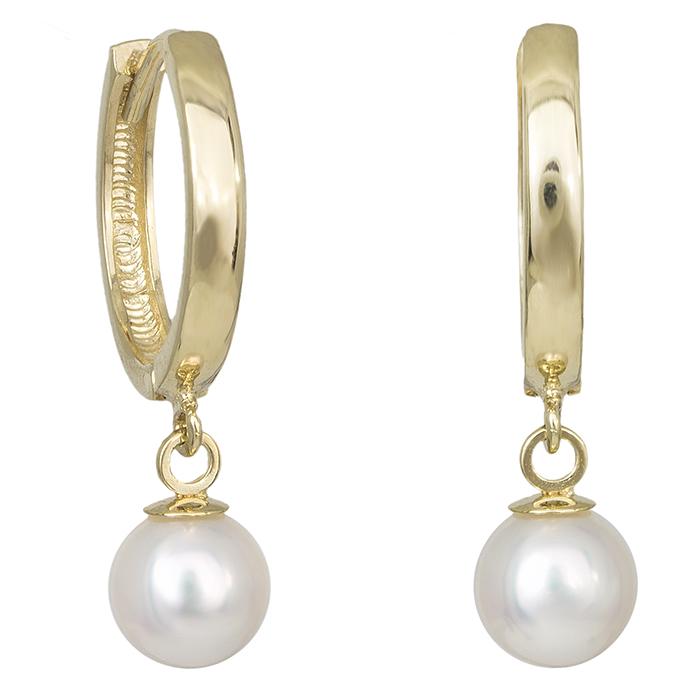 Χρυσά σκουλαρίκια Κ14 κρικάκια με μαργαριτάρι 029332 029332 Χρυσός 14 Καράτια