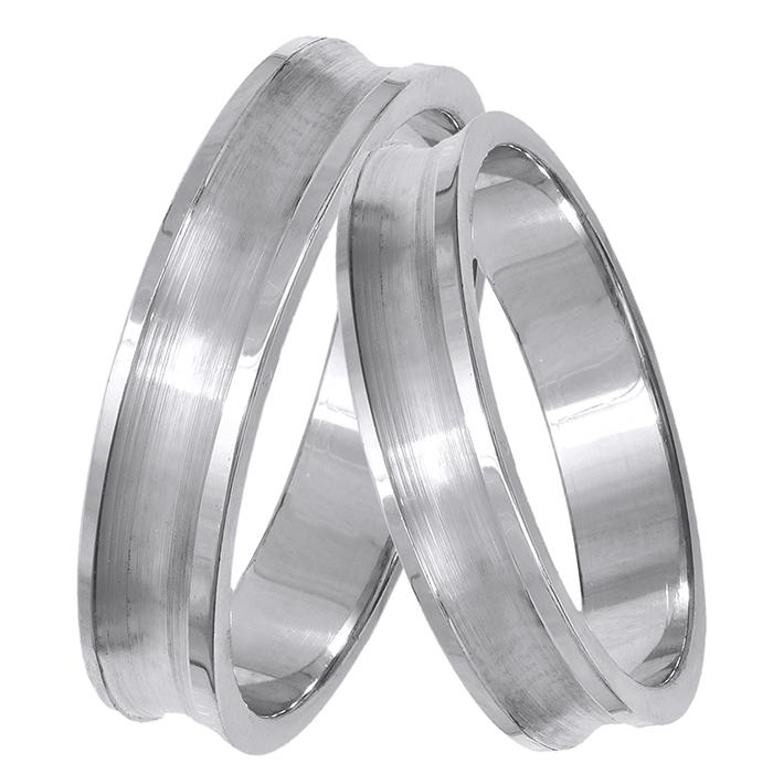 Λευκόχρυσες βέρες γάμου με λούκι Κ14 029342 029342 Χρυσός 14 Καράτια
