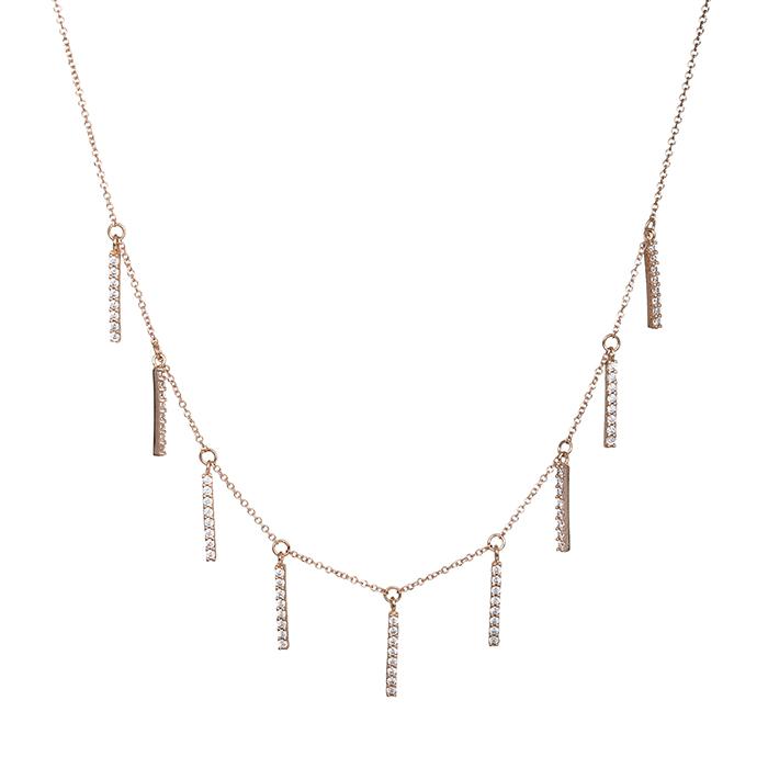 Κολιέ ροζ gold K14 με ζιργκόν πέτρες 029355 029355 Χρυσός 14 Καράτια