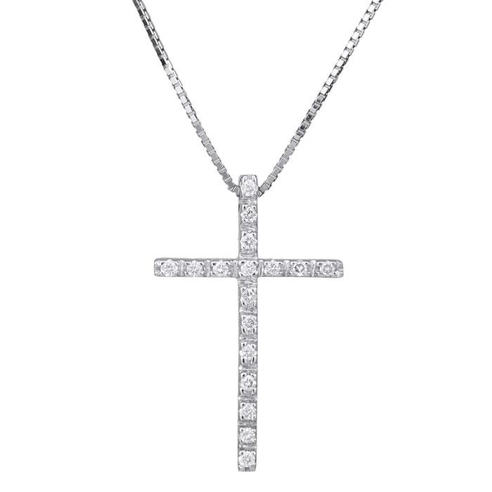 Βαπτιστικοί Σταυροί με Αλυσίδα Λευκόχρυσος σταυρός με μπριγιάν Κ18 029367 029367 Γυναικείο Χρυσός 18 Καράτια