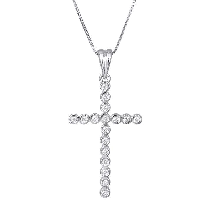 Βαπτιστικοί Σταυροί με Αλυσίδα Λευκόχρυσος σταυρός με μπριγιάν Κ18 029370  029370 Γυναικείο ... 7a4bd59434b