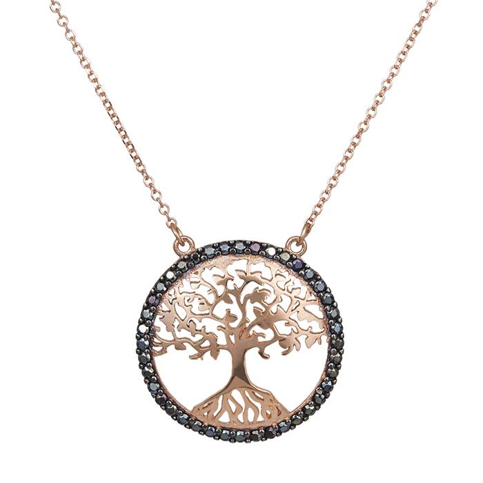 Ροζ χρυσό κολιέ Κ14 δέντρο ζωής με μαύρες ζιργκόν 029378 029378 Χρυσός 14 Καράτια