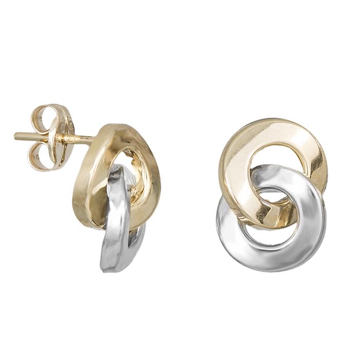 Δίχρωμα σκουλαρίκια Κ9 κρίκοι 029392 029392 Χρυσός 9 Καράτια