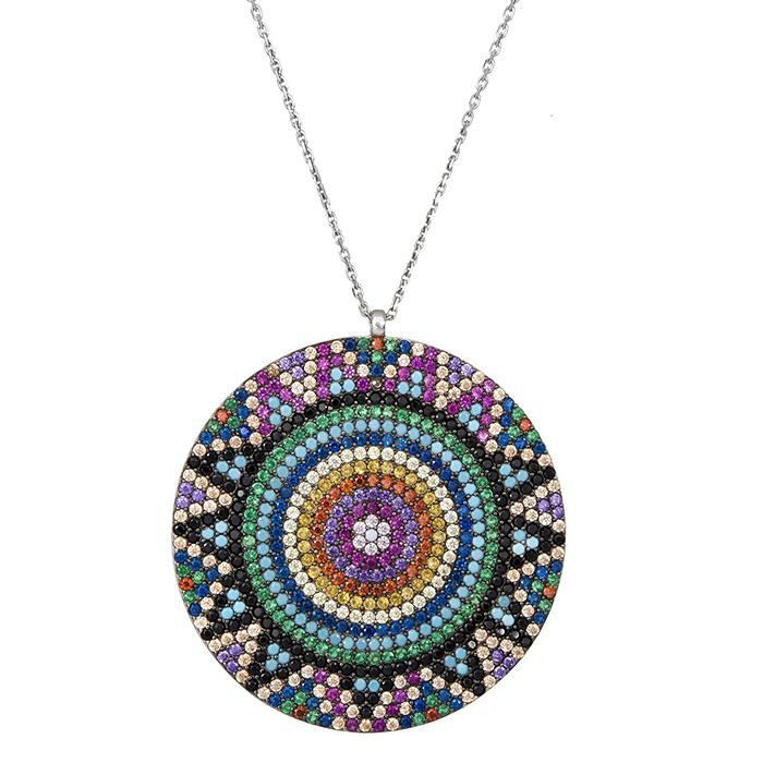 Γυναικείο κολιέ 925 με πολύχρωμες πέτρες 029421 029421 Ασήμι