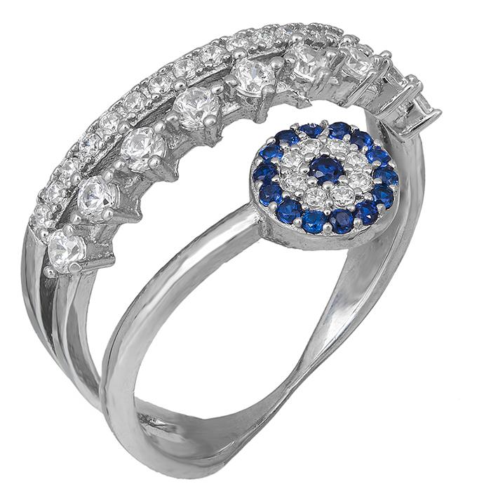 Ασημένιο δαχτυλίδι 925 με ματάκι και ζιργκόν πέτρες 029445 029445 Ασήμι
