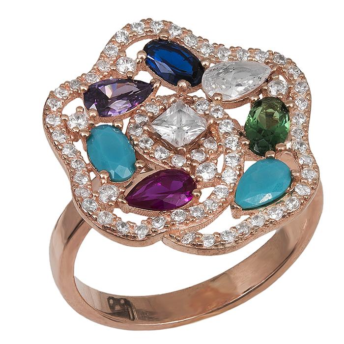 Δαχτυλίδι ροζ 925 με πολύχρωμο λουλούδι 029449 029449 Ασήμι