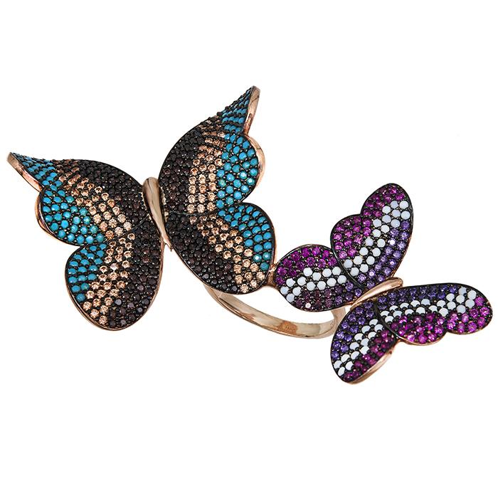 Ροζ επίχρυσο δαχτυλίδι 925 πολύχρωμες πεταλούδες 029450 029450 Ασήμι