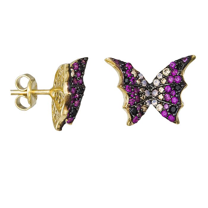 Επίχρυσα σκουλαρίκια 925 πολύχρωμες πεταλούδες 029452 029452 Ασήμι