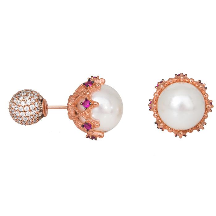 Γυναικεία σκουλαρίκια 925 με μαργαριτάρι και ζιργκόν 029456 029456 Ασήμι