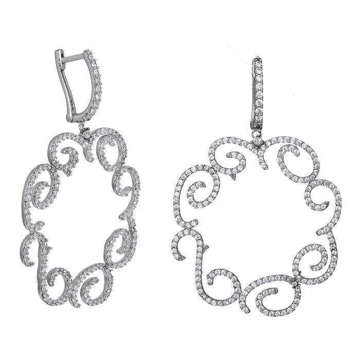 Ασημένια σκουλαρίκια 925 κρεμαστά με ζιργκόν πέτρες 029457 029457 Ασήμι