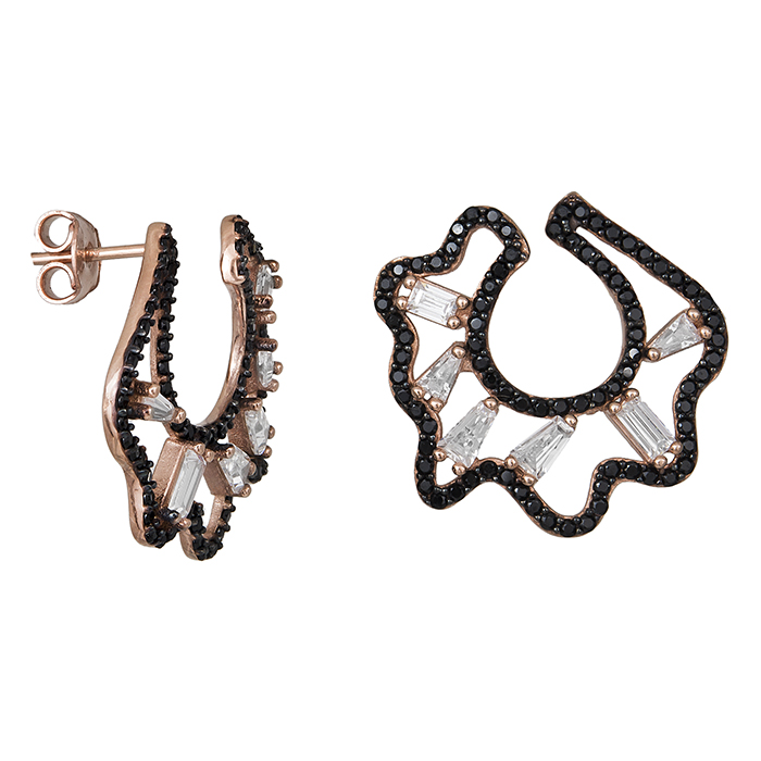 Ροζ επίχρυσα σκουλαρίκια 925 με ζιργκόν πέτρες 029461 029461 Ασήμι