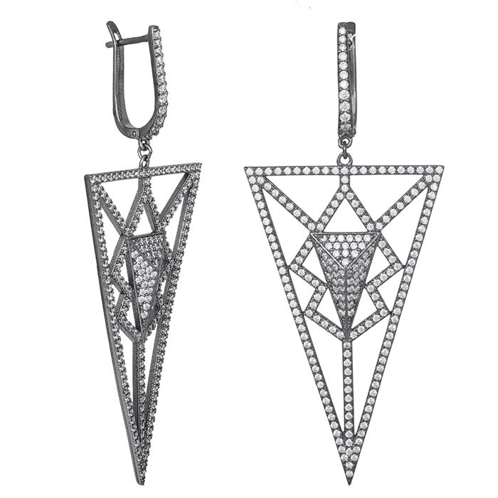 Ασημένια σκουλαρίκια 925 τρίγωνο με ζιργκόν πέτρες 029462 029462 Ασήμι