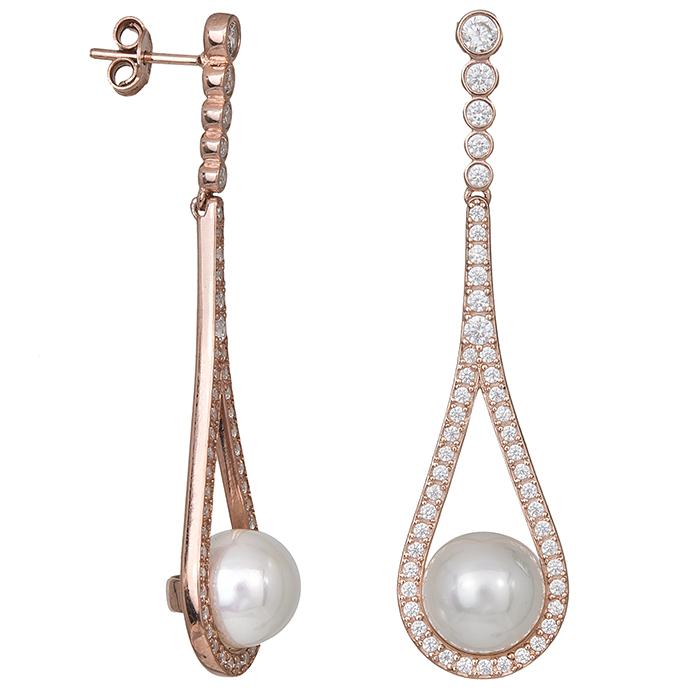 Κρεμαστά σκουλαρίκια 925 με ζιργκόν και μαργαριτάρι 029463 029463 Ασήμι
