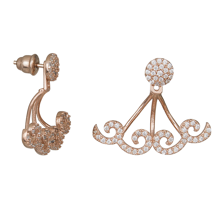 Γυναικεία ροζ επίχρυσα σκουλαρίκια 925 με ζιργκόν 029469 029469 Ασήμι