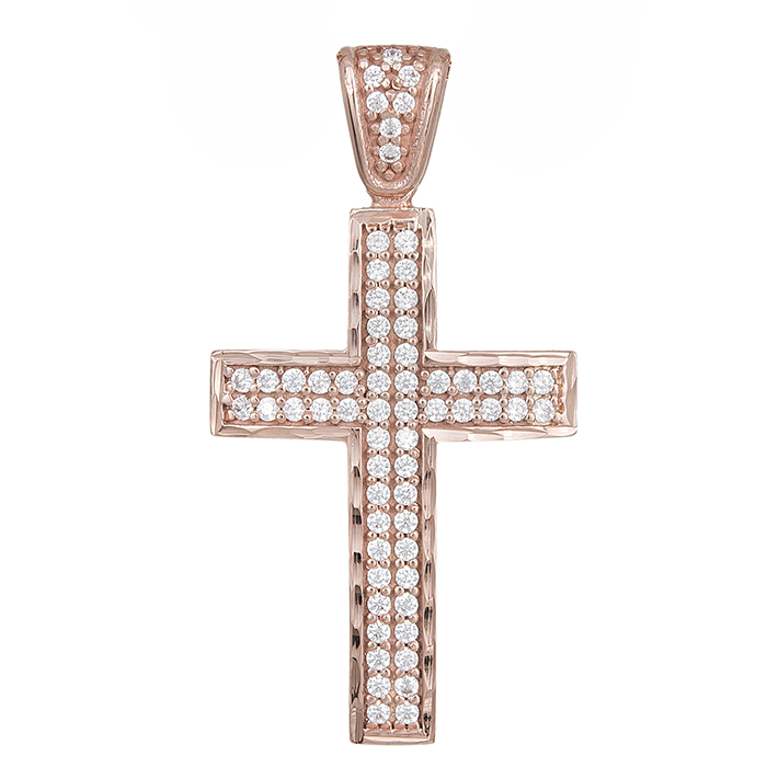 Σταυροί Βάπτισης - Αρραβώνα Πετράτος σταυρός Κ14 ροζ gold 029493 029493 Γυναικείο Χρυσός 14 Καράτια