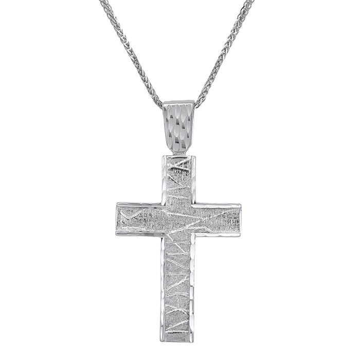 Βαπτιστικοί Σταυροί με Αλυσίδα Λευκόχρυσος σταυρός Κ14 ανάγλυφος ματ 029510C 029510C Ανδρικό Χρυσός 14 Καράτια