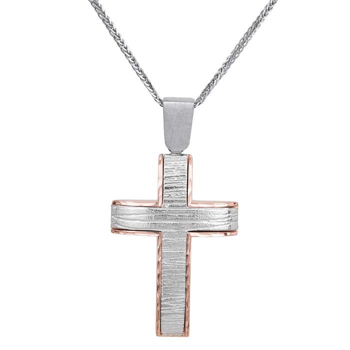 Βαπτιστικοί Σταυροί με Αλυσίδα Δίχρωμος σταυρός με αλυσίδα Κ14 ματ ζαγρέ 029514C 029514C Ανδρικό Χρυσός 14 Καράτια